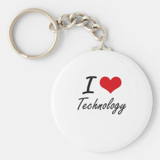 I love Technology Basic Round Button Key Ring