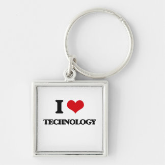 I love Technology Silver-Colored Square Keychain