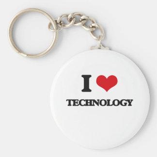 I love Technology Basic Round Button Key Ring