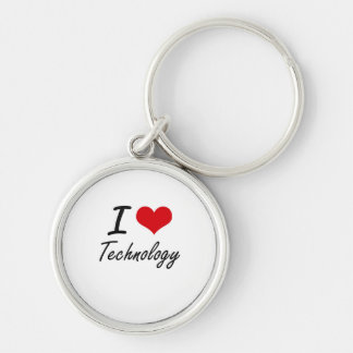 I love Technology Silver-Colored Round Key Ring