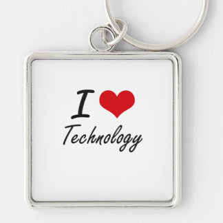 I love Technology Silver-Colored Square Key Ring