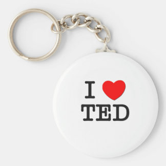 I Love Ted Basic Round Button Key Ring