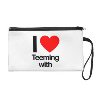i love teeming with wristlet purse