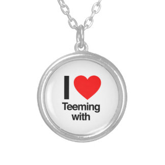 i love teeming with round pendant necklace