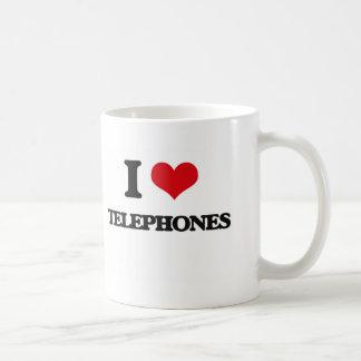 I love Telephones Basic White Mug