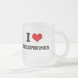 I love Telephones Frosted Glass Mug