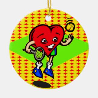 I Love Tennis Round Ceramic Decoration