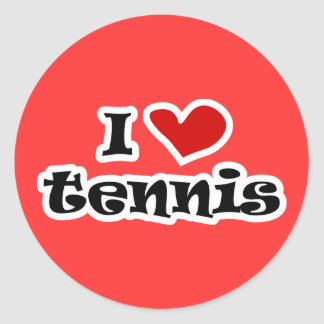 I love tennis gifts and t shirts with heart design round sticker