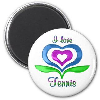 I Love Tennis Hearts Magnet