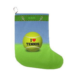 I Love Tennis Large Christmas Stocking