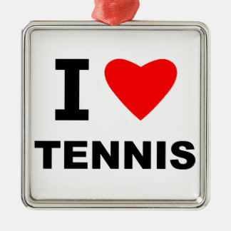 I Love Tennis Silver-Colored Square Decoration