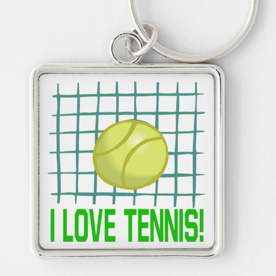 I Love Tennis Silver-Colored Square Key Ring