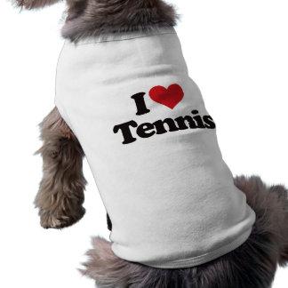 I Love Tennis Sleeveless Dog Shirt