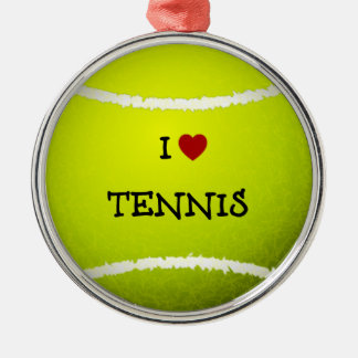 I Love Tennis - Tennis Ball Silver-Colored Round Decoration