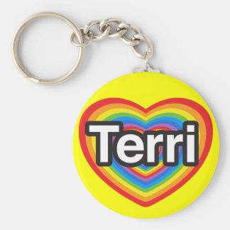 I love Terri I love you Terri Heart Key Chains