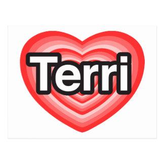 I love Terri I love you Terri Heart Postcards