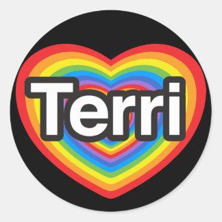 I love Terri I love you Terri Heart Round Stickers
