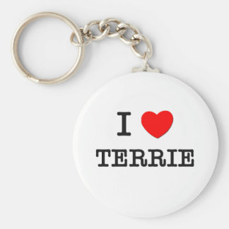 I Love Terrie Basic Round Button Key Ring