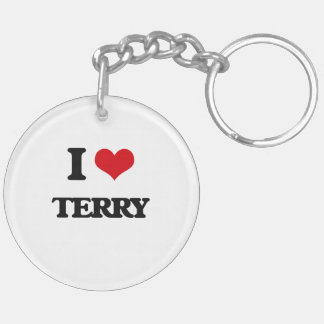 I Love Terry Double-Sided Round Acrylic Key Ring