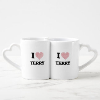 I Love Terry (Heart Made from Love words) Lovers Mug