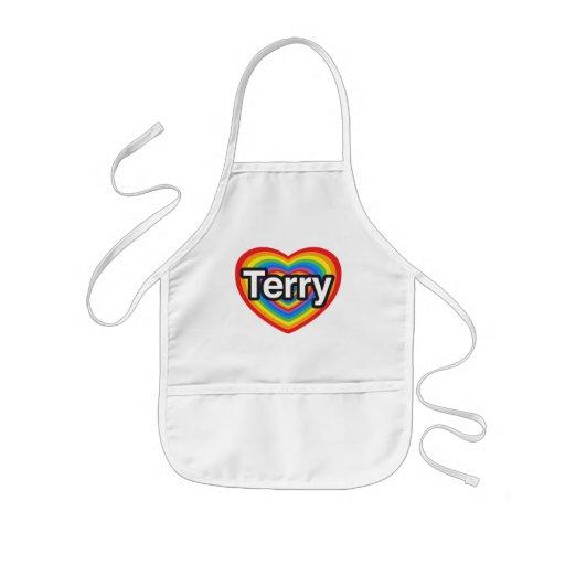 I love Terry. I love you Terry. Heart Apron
