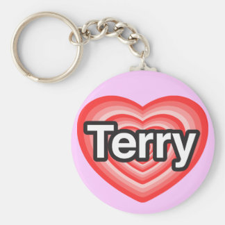 I love Terry. I love you Terry. Heart Basic Round Button Key Ring