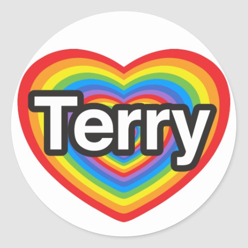 I love Terry. I love you Terry. Heart Round Sticker