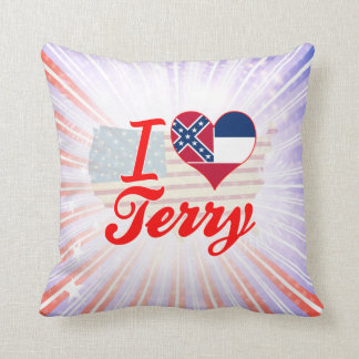 I Love Terry, Mississippi Throw Pillows