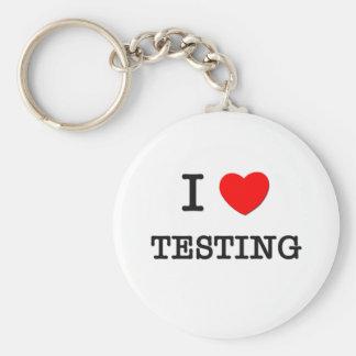 I Love Testing Basic Round Button Key Ring
