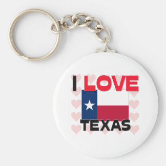 I Love Texas Basic Round Button Key Ring