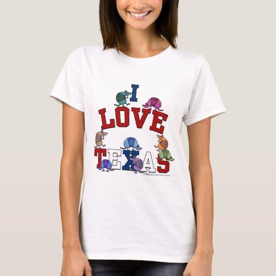 I Love Texas-Colourful Armadillos T-Shirt