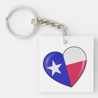 I Love Texas - Heart of Patriotic Texan Single-Sided Square Acrylic Key Ring