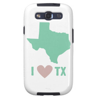 I Love Texas in Mint and Pink Galaxy S3 Cover