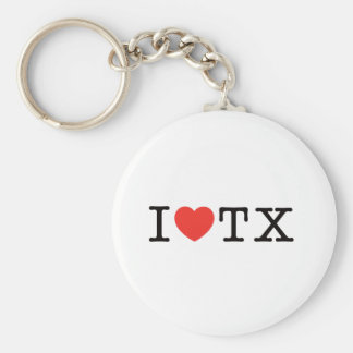 I LOVE Texas Basic Round Button Key Ring