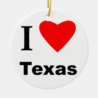 I Love Texas Round Ceramic Decoration
