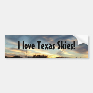 I love Texas Skies bumper sticker