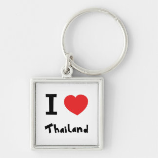 I love Thailand Silver-Colored Square Key Ring