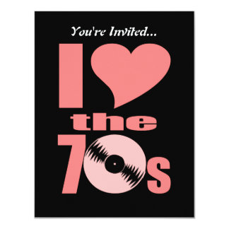 I Love the 70s 11 Cm X 14 Cm Invitation Card