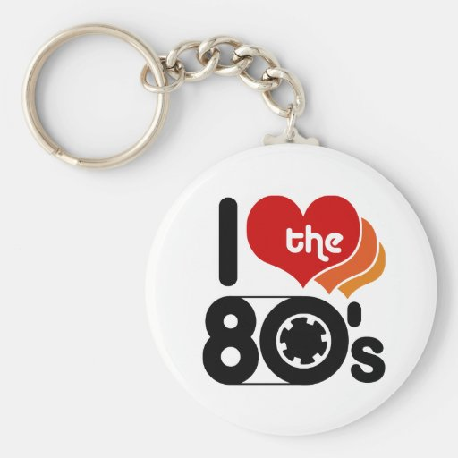 I Love the 80's Basic Round Button Key Ring