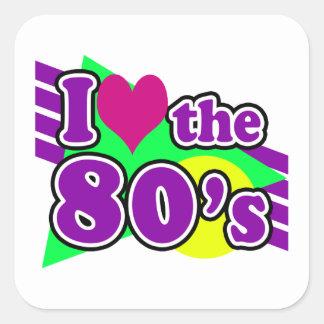 I Love the 80's Geometric Neon Eighties Party Sticker