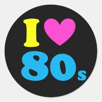 I Love The 80s Round Sticker