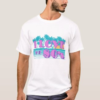 I Love the 80s T-shirt for Men - Miami Palms and Sunset