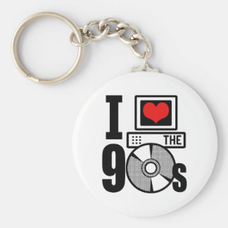 I Love The 90s Basic Round Button Key Ring