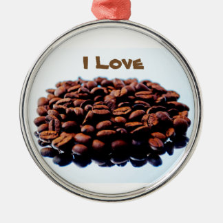 I Love the Aroma of Coffee Silver-Colored Round Decoration