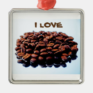 I Love the Aroma of Coffee Silver-Colored Square Decoration