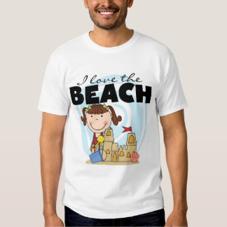I Love the Beach Brunette Girl Tshirts and Gifts