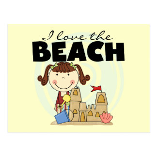 I Love the Beach Brunette Girl Tshirts and Gifts Postcard