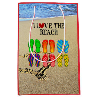 I Love the Beach, Flip Flops in the Sand Medium Gift Bag