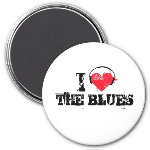 I love the blues 7.5 cm round magnet