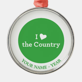 I Love the Country Christmas Ornament